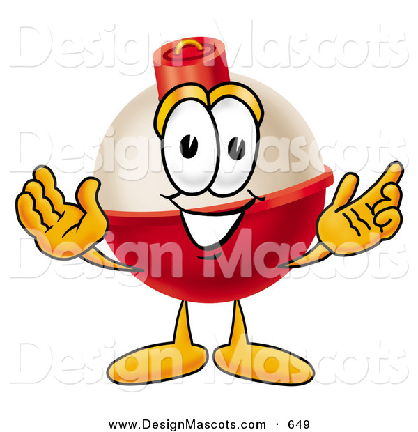Stock Mascot Cartoon of a Red and White Fishing Bobber Mascot Cartoon Character with Welcoming Open ArmsRed and White Fishing Bobber Mascot Cartoon Character with Welcoming Open Arms