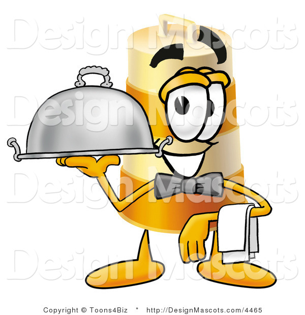 Stock Mascot Cartoon of a Smiling Barrel Mascot Cartoon Character Dressed As a Waiter and Holding a Serving Platter
