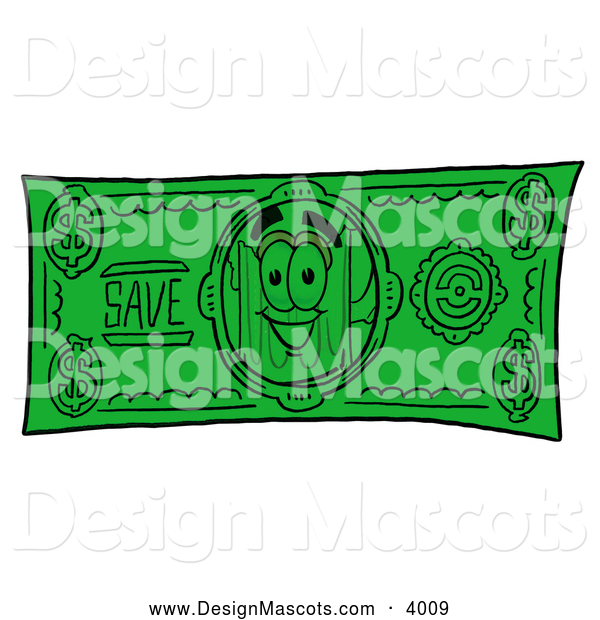 Stock Mascot Cartoon of a Smiling Beer Mug Mascot Cartoon Character on a Dollar Bill
