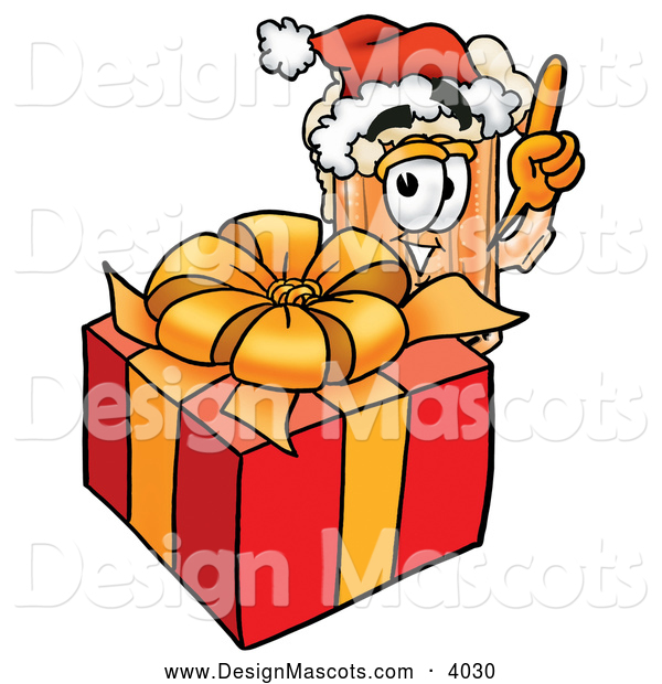 Stock Mascot Cartoon of a Smiling Beer Mug Mascot Cartoon Character Standing by a Christmas Present
