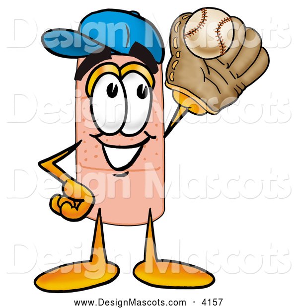 Stock Mascot Cartoon of a Sporty Bandaid Bandage Mascot Cartoon Character Catching a Baseball with a Glove