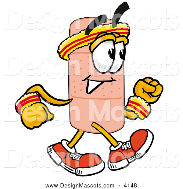 Stock Mascot Cartoon of a Sporty Bandaid Bandage Mascot Cartoon Character Speed Walking or Jogging