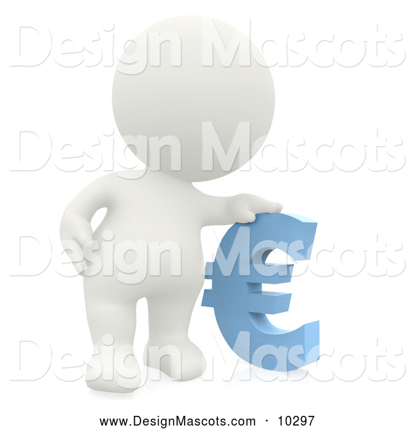 Stock Mascot of a 3d White Person Resting His Hand on a Blue Euro Symbol