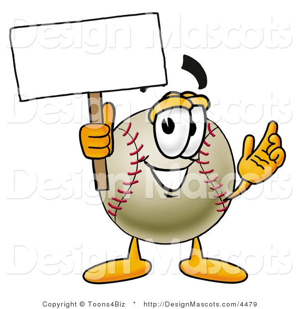 Stock Vector Mascot Cartoon of a Baseball Mascot Holding a Blank Sign