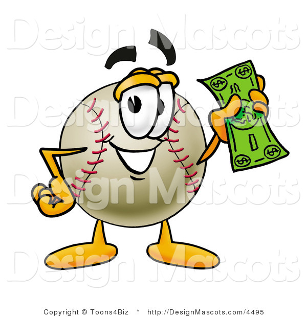 Stock Vector Mascot Cartoon of a Baseball Mascot Holding a Dollar Bill