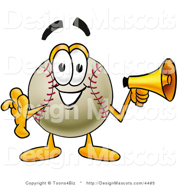 Stock Vector Mascot Cartoon of a Baseball Mascot Holding a Megaphone