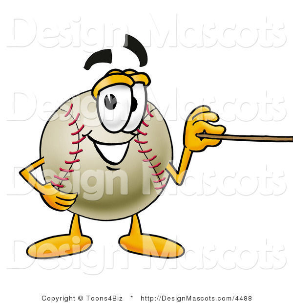 Stock Vector Mascot Cartoon of a Baseball Mascot Holding a Pointer Stick
