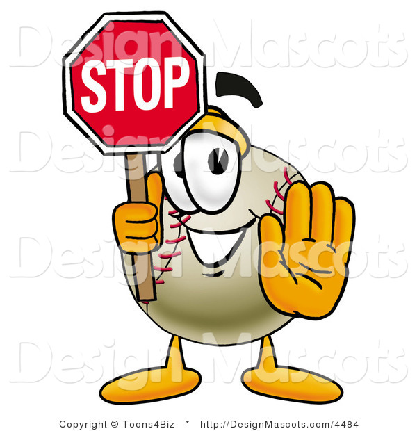 Stock Vector Mascot Cartoon of a Baseball Mascot Holding a Stop Sign