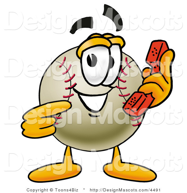 Stock Vector Mascot Cartoon of a Baseball Mascot Holding a Telephone