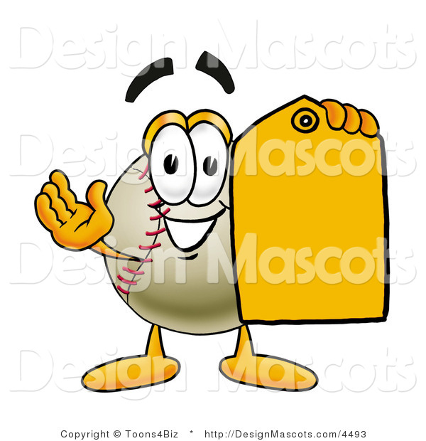 Stock Vector Mascot Cartoon of a Baseball Mascot Holding a Yellow Sales Price Tag