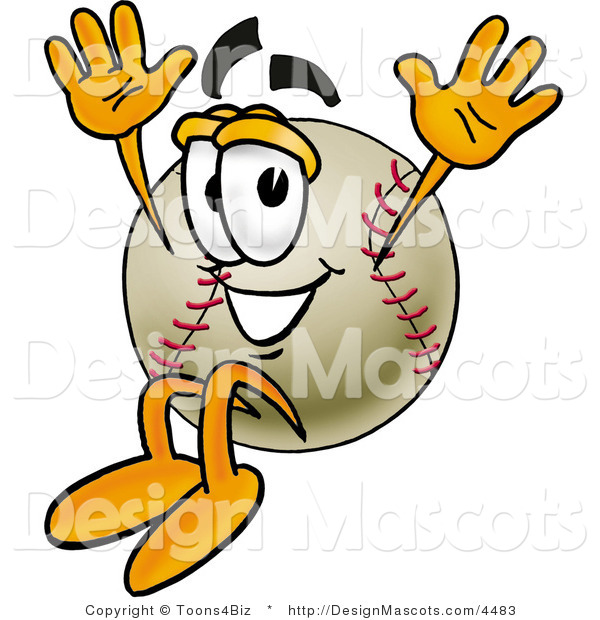 Stock Vector Mascot Cartoon of a Baseball Mascot Jumping