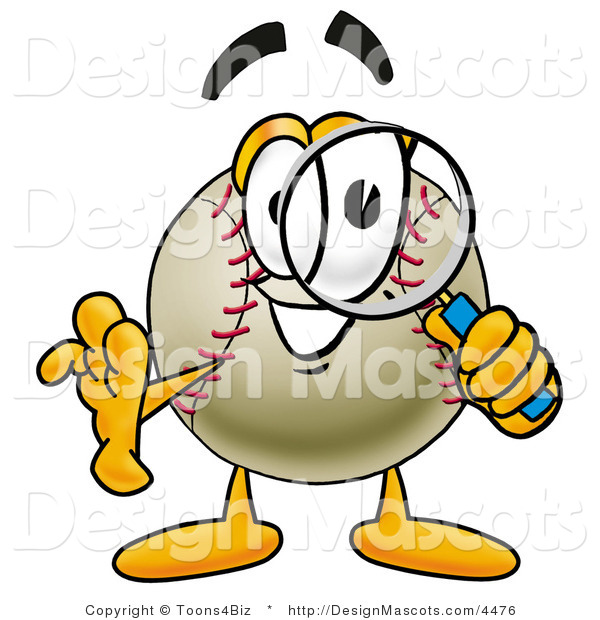 Stock Vector Mascot Cartoon of a Baseball Mascot Looking Through a Magnifying Glass