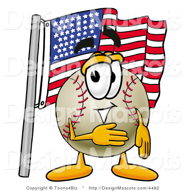 Stock Vector Mascot Cartoon of a Baseball Mascot Pledging Allegiance to an American Flag