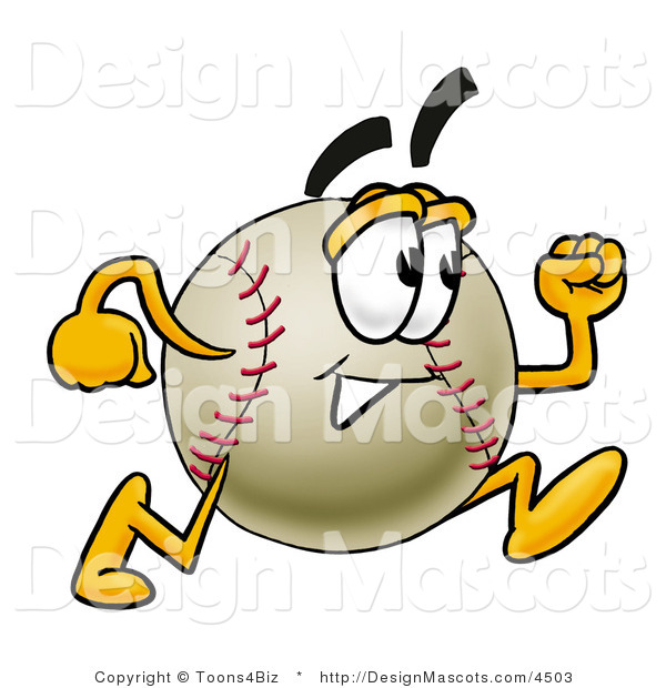 Stock Vector Mascot Cartoon of a Baseball Mascot Running