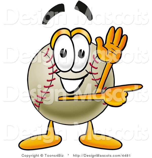 Stock Vector Mascot Cartoon of a Baseball Mascot Waving and Pointing