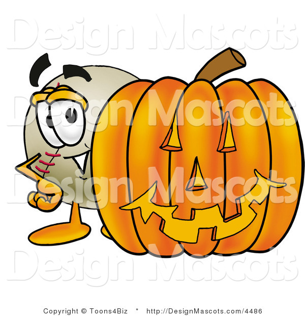 Stock Vector Mascot Cartoon of a Baseball Mascot with a Carved Halloween Pumpkin