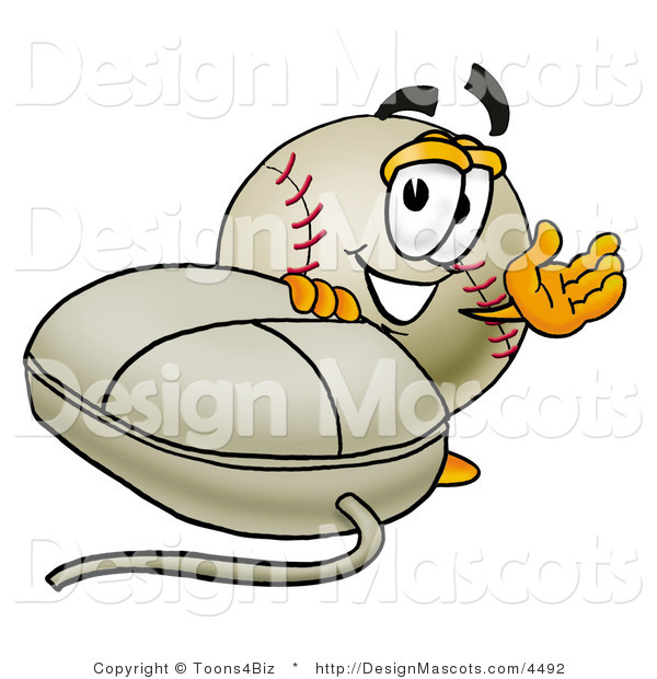 Stock Vector Mascot Cartoon of a Baseball Mascot with a Computer Mouse