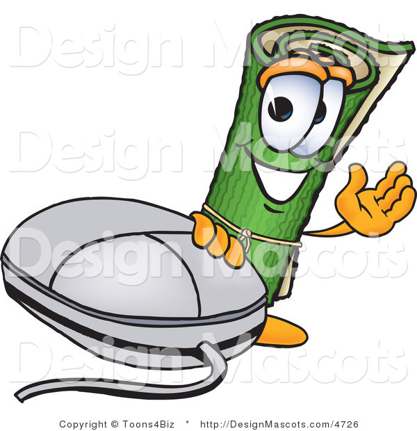 Stock Vector Mascot Cartoon of a Carpet Mascot with a Computer Mouse