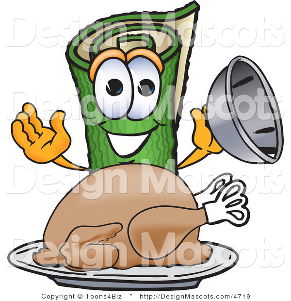 Stock Vector Mascot Cartoon of a Carpet with a Thanksgiving Turkey on a Platter