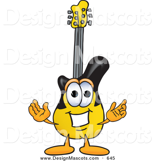 Stock Vector Mascot Cartoon of a Cheerful Guitar Mascot Cartoon Character with Welcoming Open Arms