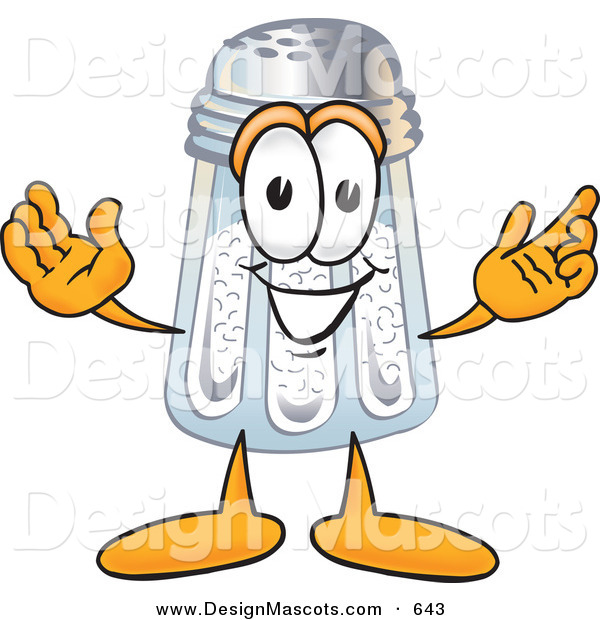 Stock Vector Mascot Cartoon of a Cheerful White Salt Shaker Mascot Cartoon Character with Welcoming Open Arms