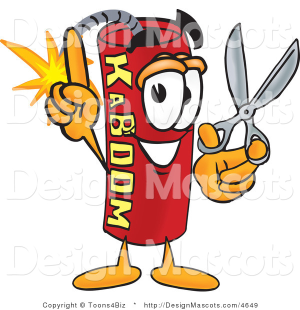 Stock Vector Mascot Cartoon of a Cutting Dynamite Mascot