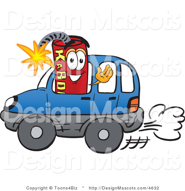 Stock Vector Mascot Cartoon of a Driving Dynamite Mascot