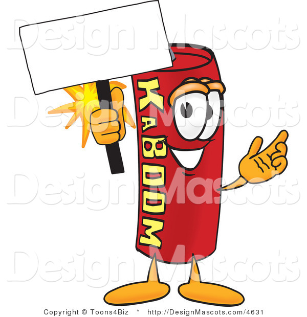 Stock Vector Mascot Cartoon of a Dynamite Mascot Holding a Sign