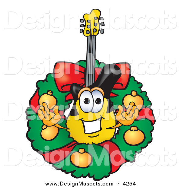 Stock Vector Mascot Cartoon of a Festive Guitar Mascot Cartoon Character in the Center of a Christmas Wreath