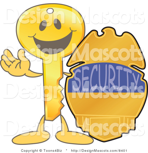 Stock Vector Mascot Cartoon of a Golden Key Mascot Character with a Security Badge