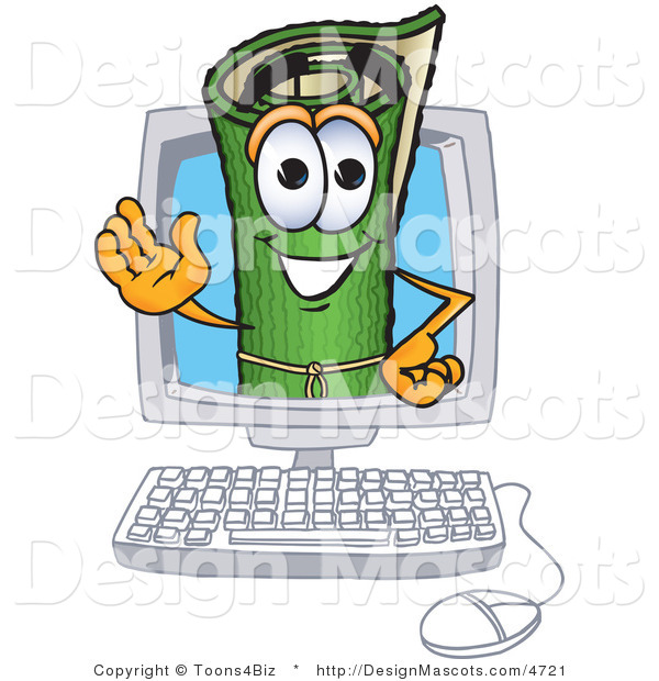 Stock Vector Mascot Cartoon of a Green Carpet Waving in a Computer Screen
