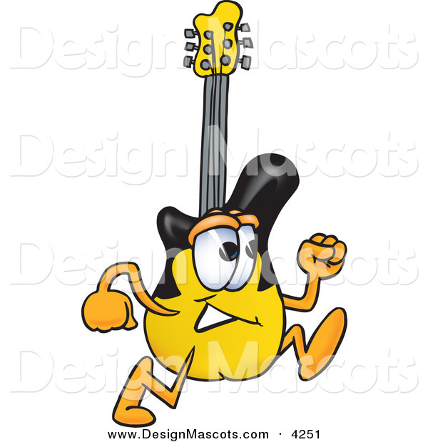 Stock Vector Mascot Cartoon of a Guitar Mascot Cartoon Character Running Right