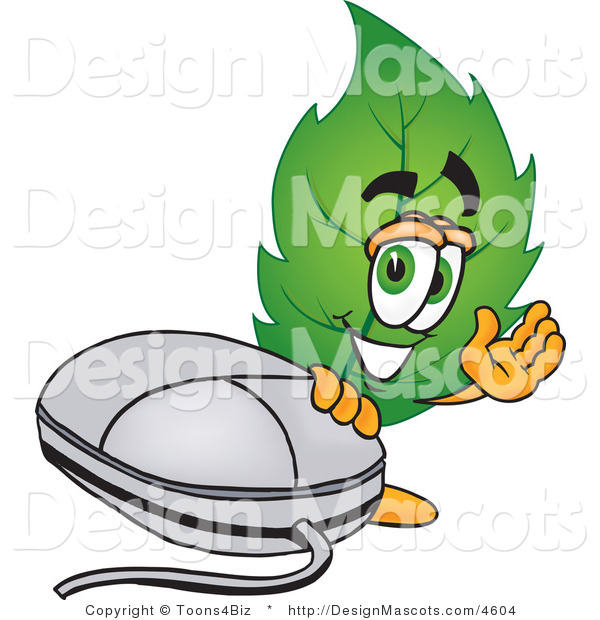 Stock Vector Mascot Cartoon of a Leaf Mascot Standing by a Computer Mouse