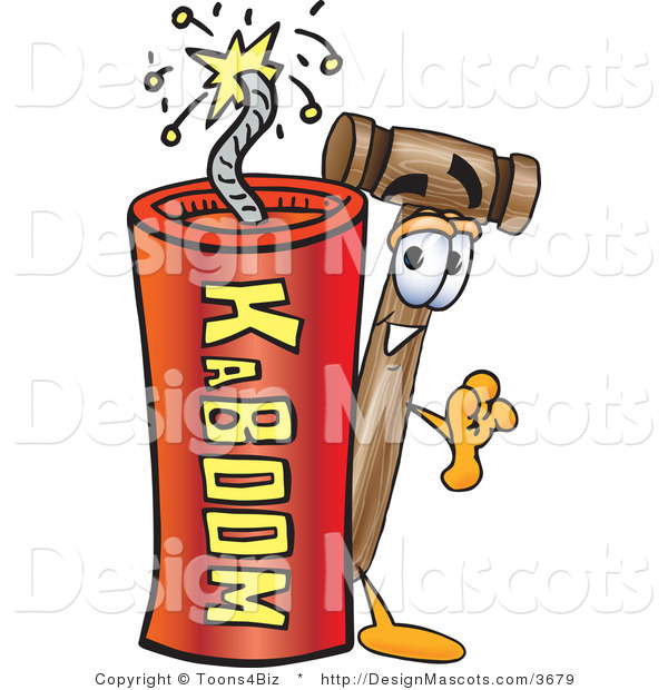 Stock Vector Mascot Cartoon of a Mallet Mascot and Dynamite