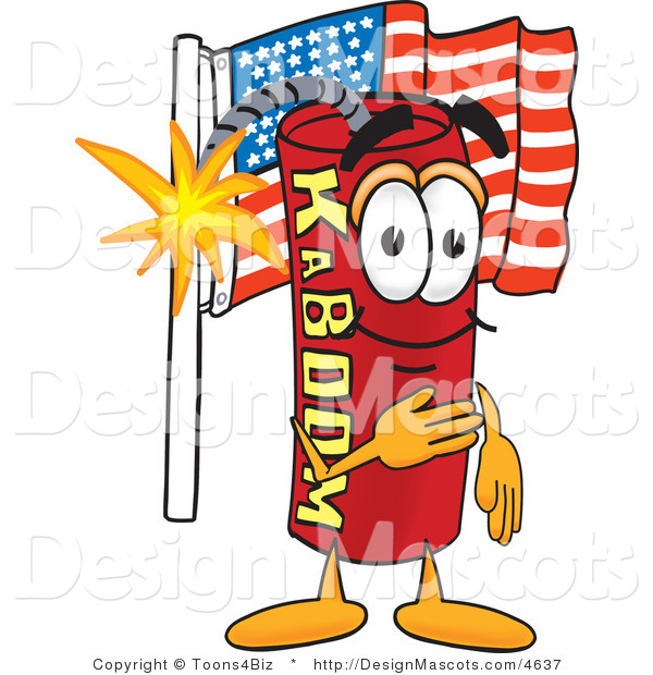 Stock Vector Mascot Cartoon of a Patriotic American Dynamite Mascot