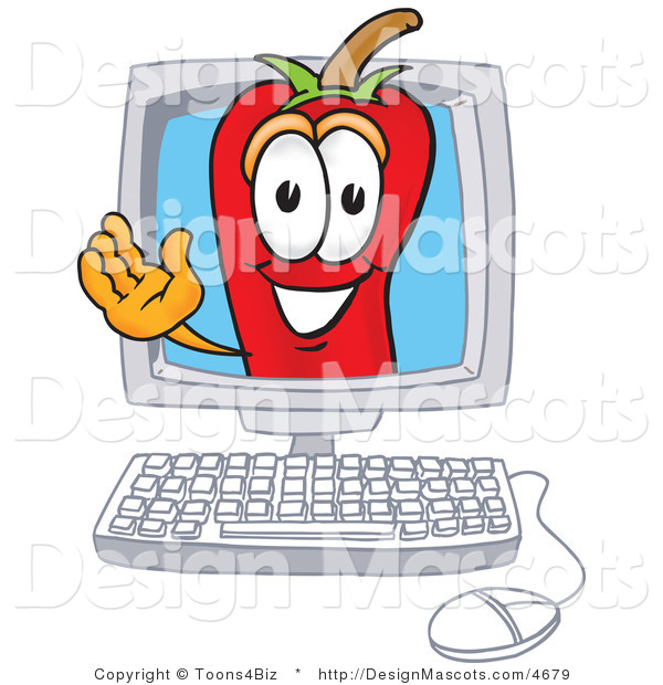 Stock Vector Mascot Cartoon of a Red Chili Pepper Waving in a Computer Screen