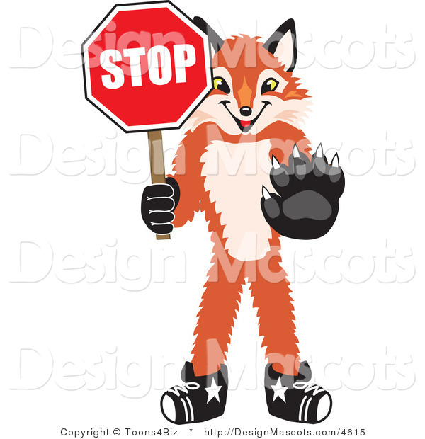 Stock Vector Mascot Cartoon of a Red Fox Holding a Stop Sign