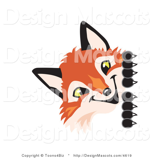 Stock Vector Mascot Cartoon of a Red Fox Peeking Around a Corner