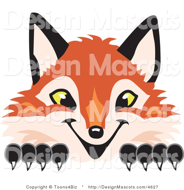 Stock Vector Mascot Cartoon of a Red Fox Peeking