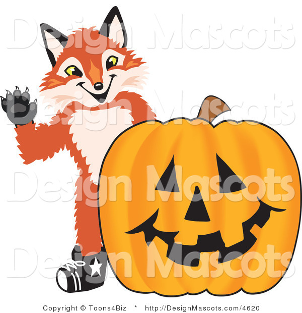 Stock Vector Mascot Cartoon of a Red Fox with a Halloween Pumpkin