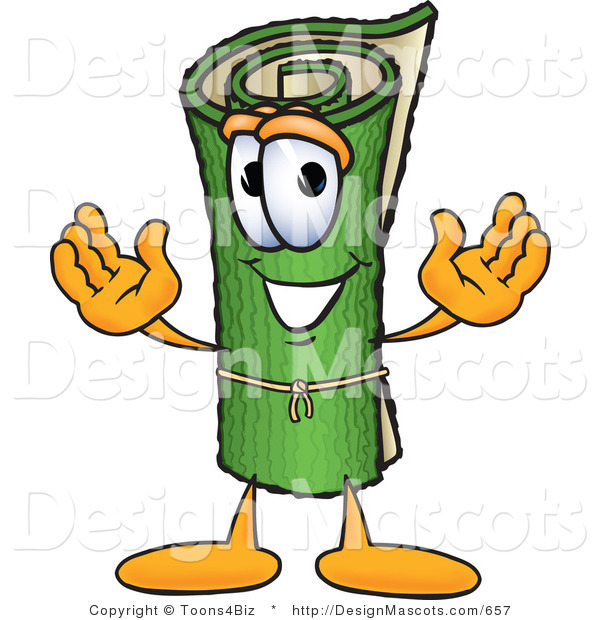 Stock Vector Mascot Cartoon of a Rolled Green Rug Mascot Cartoon Character on White