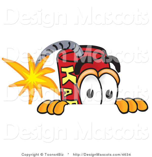 Stock Vector Mascot Cartoon of a Scared Dynamite Mascot
