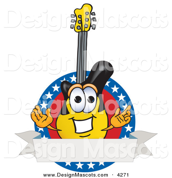 Stock Vector Mascot Cartoon of a Smiling Guitar Mascot Cartoon Character Logo with Stars and a Blank Label