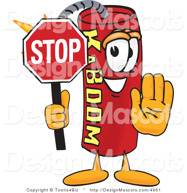 Stock Vector Mascot Cartoon of a Stop Dynamite Mascot