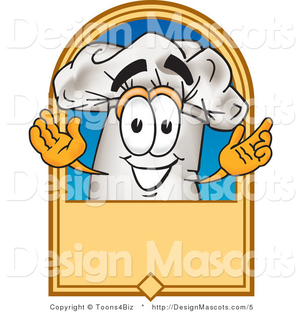 Vector Clipart of a Chef Hat Mascot and Blank Sign - Royalty Free