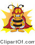 Clipart of a Bee As a Super Hero - Royalty Free by Toons4Biz