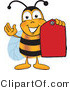 Clipart of a Bee Mascot Cartoon Character Holding a Red Clearance Tag - Royalty Free by Toons4Biz