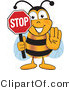 Clipart of a Bee Mascot Cartoon Character Holding Stop Sign - Royalty Free by Toons4Biz