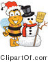 Clipart of a Bee Mascot Cartoon Character with a Snowman - Royalty Free by Toons4Biz