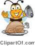 Clipart of a Bee Mascot Cartoon Character with Turkey - Royalty Free by Toons4Biz